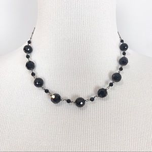 NWT WHBM Black Single Strand Beaded Necklace